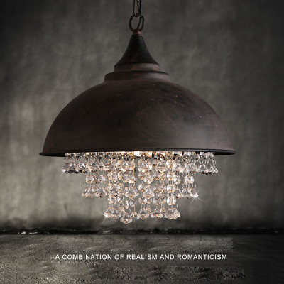 Rustic Industrial Crystal Pendant Light Loft Vintage Chandelier Ceiling Lamp