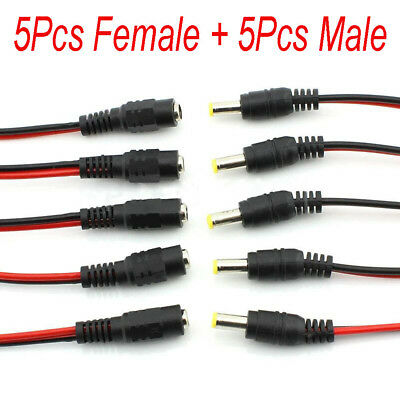 10Pcs 5.5x2.1mm Male + Female DC Power Socket Jack Plug Connector Cable Wire 12V