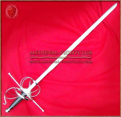 Rapier - ornate basket hilt long steel wire wrapped sword fencing