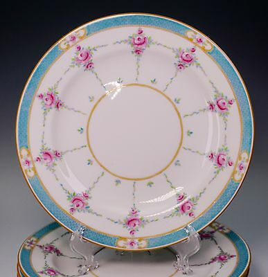 Gorgeous Set of Six Minton Hand Painted Blue and Pink Roses Dessert Plates