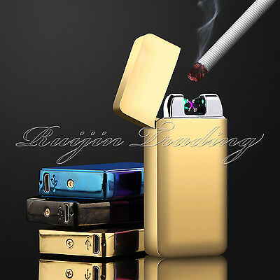 Electric Plasma Double Arc Lighter Windproof Flameless USB Rechargeable Gold