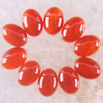 Jewelry Natural Stone 18x13MM Oval Red Carnelian CAB Cabochon 10Pcs TK1604