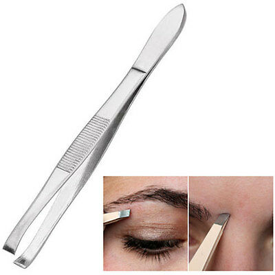 Tweezers Stainless Steel Eyebrows Hair Beauty Straight Angled Tip Edge Tweezer