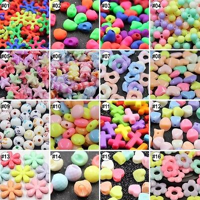 100pcs Plastic Mixed  Loose Beads  For Kids Set Fun Jewellry Making DIY Craft
