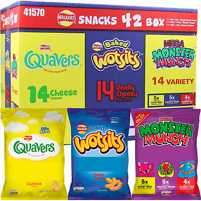 WALKERS SNACK 42 Pack Variety Crisp BOX - WOTSITS, QUAVERS & MONSTER MUNCH