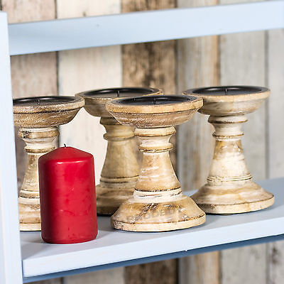 4 x Assorted 13cm Short White Washed Wooden Candle Sticks Holders Vintage Pillar