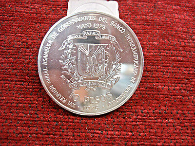 1975 Dominican Republic - 10 Pesos - Large Silver Coin - Int. Banker's Conferenc