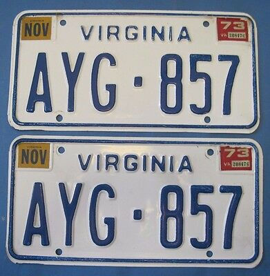 1973 Virginia license plates matched pair scarce sticker type only used 3 months