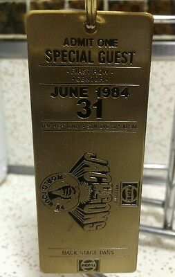 June 1984 1st row Jackson's World Tour 84' Pepsi brass ticket back stage pass