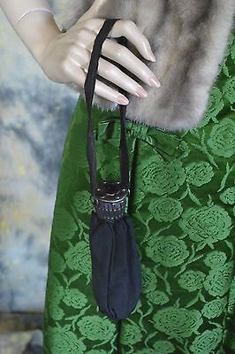 ANTIQUE 1900s SILVER purple glass EXPANDING gate purse STEAMPUNK as is