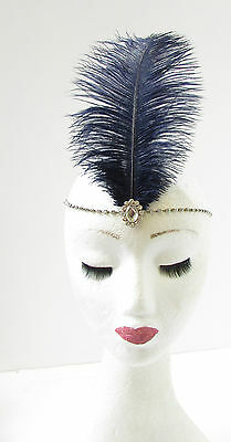 Ivory Cream Silver Ostrich Feather Flapper Headpiece 1920s Vintage Headband O57