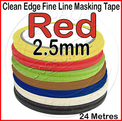 Clean Edge Fine Line Masking Tape 2.5mm x 24M - RED - Paint Models Nails AS - UK