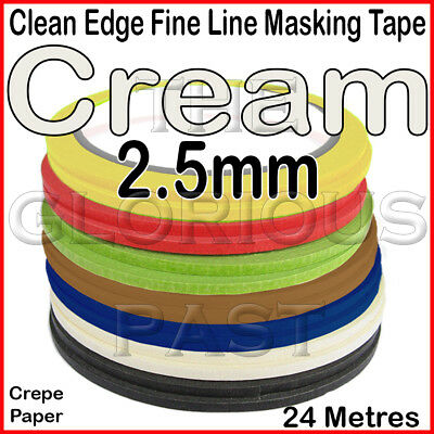 Clean Edge Fine Line Masking Tape 2.5mm x 24M - CREAM - Paint Models Nails AS UK