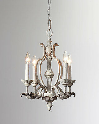 """19"""" Horchow French Restoration Antique White Candle Chandelier $379 New"""