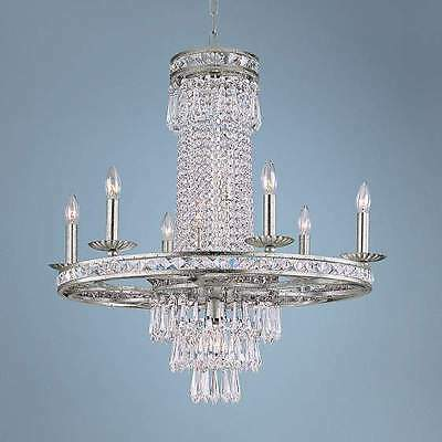 Horchow Neiman Marcus French Crystal Chandelier Antique Silver Large New