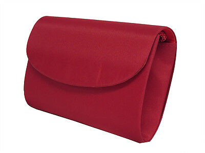 NEW Red Ladies Satin Handbag Clutch Purse Wedding Bag Formal Evening Party #2180