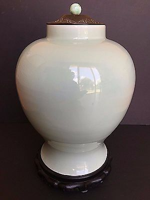 Chinese Antique 18Th Century Kangxi Porcelain Monochrome Celadon Covered Jar