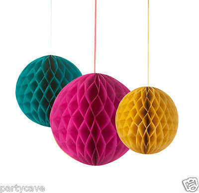 3 Floral Fiesta Honeycomb Hanging Lanterns Garden Summer Bbq Party Decoration