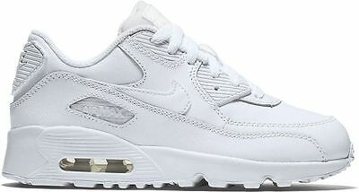 New Nike Kid's Air Max 90 Leather (PS) Shoes (833414 100) WhiteWhite