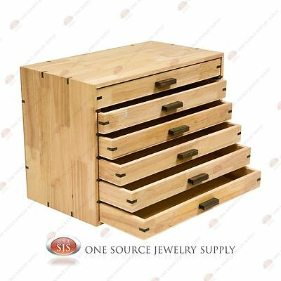 6 Draw Wooden Storage Organizer Gemstone Display Box Wood Natural Wood
