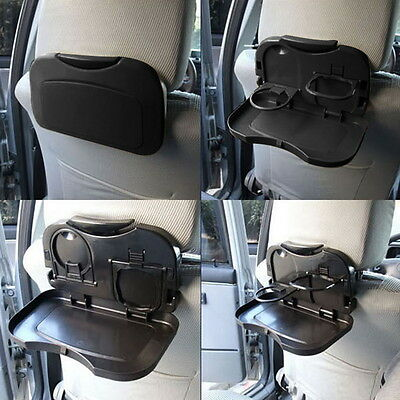 Black Folding Auto Car Back Seat Table Drink Food Cup Car Tray Holder Stand Desk