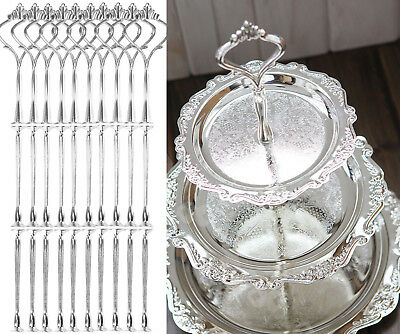10Pcs 3 Tier Wedding Party Tea Cup Cake Plate Silver Stand Centre Handle Fitting