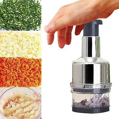 New Stainless Fruit Salad Vegetable Onion Hand Chopper Slicer Cutter Kitchen