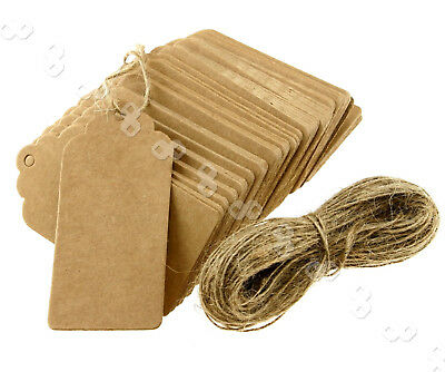 100X Brown Kraft Paper Hang Tags Price Party Wedding Label Cards +Strings