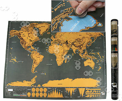 Deluxe Scratch Off World Map Poster Personalized Travel Vacation Personal Gift