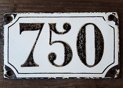 ANTIQUE FRENCH HOUSE NUMBER SIGN door PLATE PLAQUE Enamel steel Black white 750