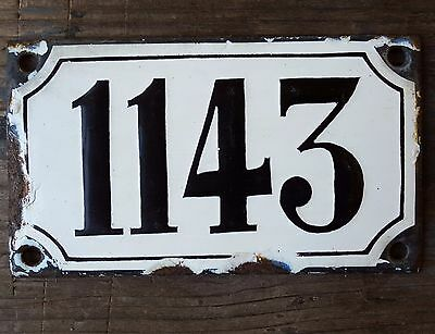 ANTIQUE FRENCH HOUSE NUMBER SIGN door PLATE PLAQUE Enamel steel Black white 1143