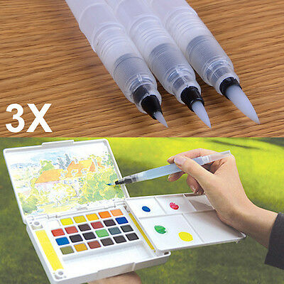 3Pcs/set Refillable Ink Color Pen Water Brush Painting Calligraphy Illustration