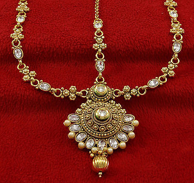 Indian Ethnic Goldtone Women Matha Patti Bollywood Traditional Forehead Jewelry
