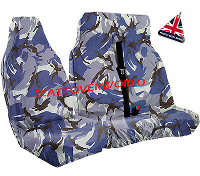 Fiat Scudo - Blue Camouflage Waterproof Van Seat Covers 2+1