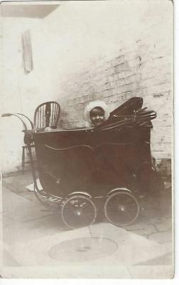 Happy Baby Girl Sitting In A Fabulous Vintage Pram  Old Real Photo Postcard