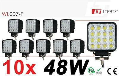 "LIGHTPARTZ® 10x LED Arbeitsscheinwerfer 48W 4"" 4000lm Flood Light 60° 10-30V OFF"
