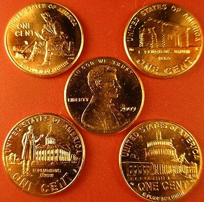 5 Complete Sets (40-Coins) P & D Mint Penny's Of The 2009 Lincoln Bicentennial