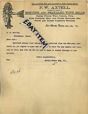 1905 LETTERHEAD Fort Worth Texas F. W. AXTELL MANUFACTURING Co Wind MiLLs ENGINE
