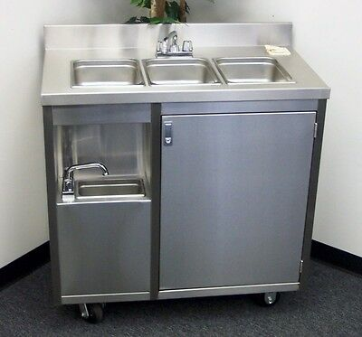 Stainless Steel Concession 4 Compartment Sink Cart