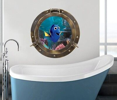 finding dory kids room wall decal sticker undersea view porthole bathroom decor