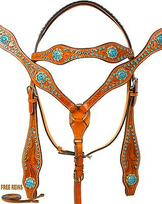 New Crystal Bling Black Leather Blue Headstall Reins Show Western Horse Tack Set
