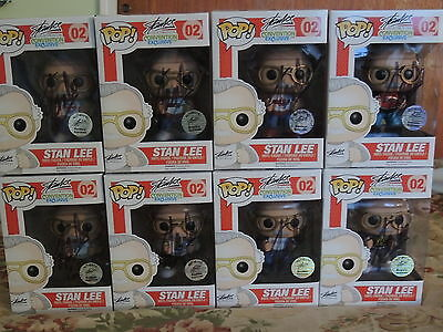 Funko Vinyl Pop! 02 2014 Complete Set Comic Con Exclusives Signed Stan Lee W/coa