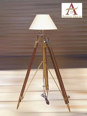 Nautical Antique Finish Tripod Teak Wood Wooden  Floor Lamp Vintage Home Decor