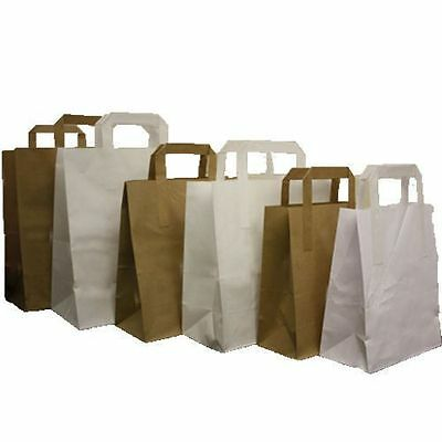 Paper Carrier Bags White Brown Sos Kraft Takeaway Food Lunch Party With Handles-