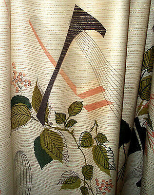 3 mid century modern Eames era vintage atomic cotton fabric drape curtain panels