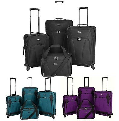 US Traveler Saratoga 4pc Expandable Spinners Duffel Bag Luggage Suitcase Set