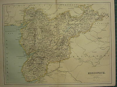 1875 Antique Wales Welsh County Map ~ Merioneth Harlech Dolgelly Barmouth