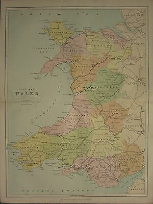 1875 Antique Wales Welsh County Map ~ Wales Cardigan Brecknock Monmouth Radnor