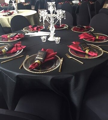 """Black Heavy Duty Poly 120"""" Round Tablecloth Wedding Parties Linens Decoration"""