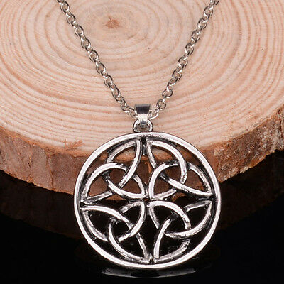 New Vintage Celtic-Knot Silver Plated Chain Pendant Necklace Charms Jewelry Gift